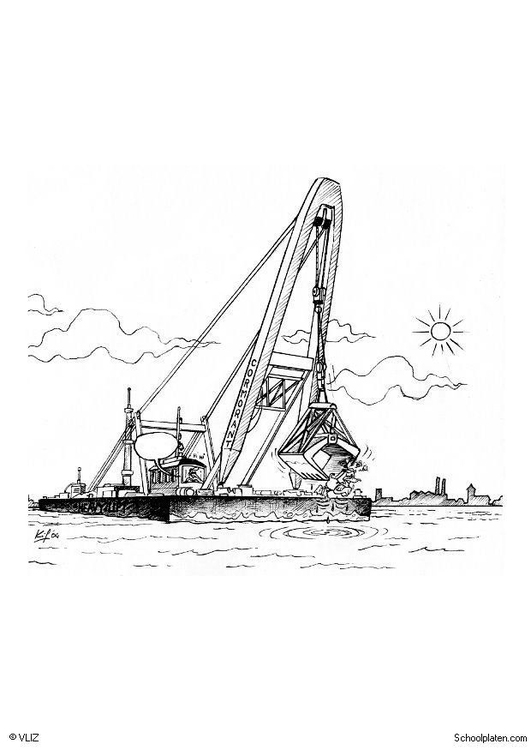 Coloring page harbour crane