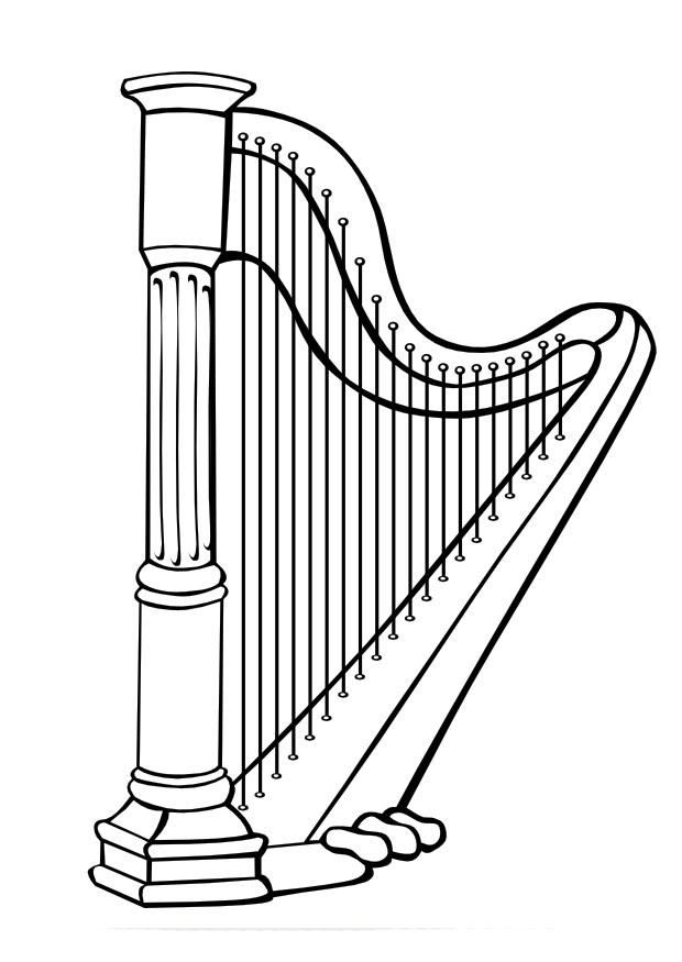 Coloring Page Harp Free Printable Coloring Pages
