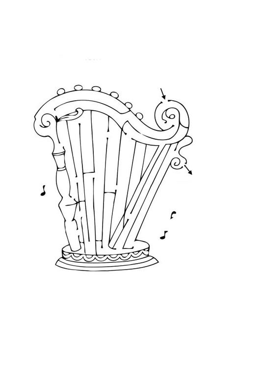 Coloring page harp maze