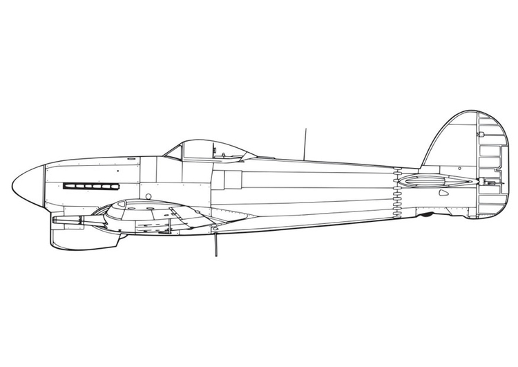 Coloring page Hawker Tempest