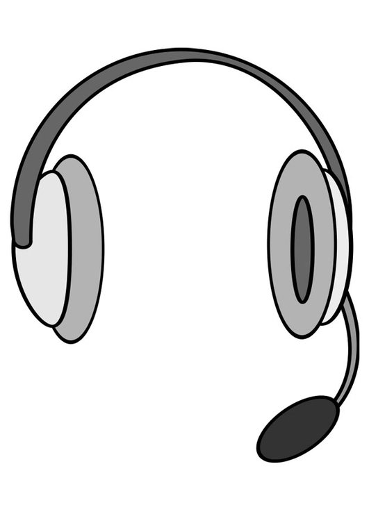 Coloring page headphones with microphone