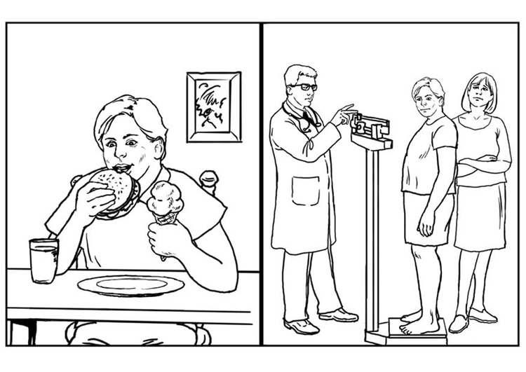 Coloring page health - food