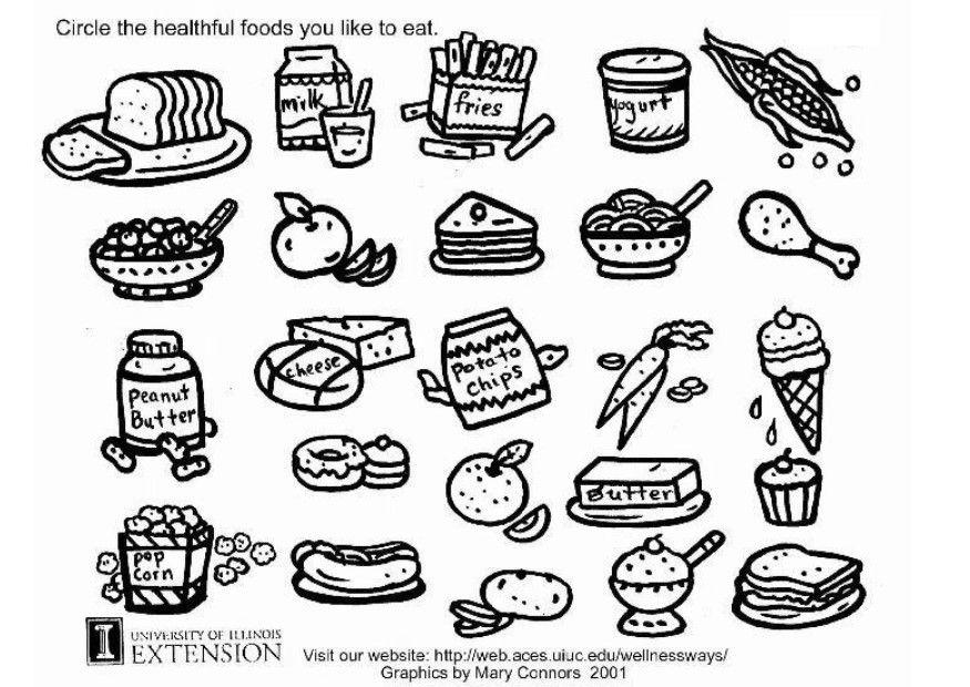 Coloring page healthy food img 5772 for Healthy foods coloring page