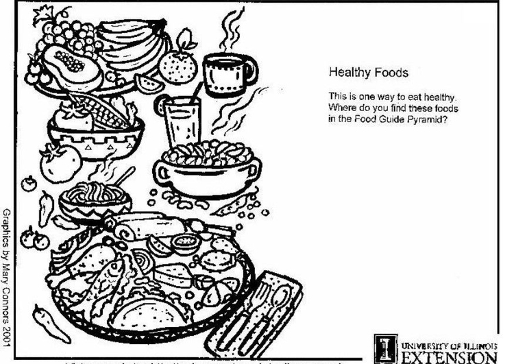 Coloring page healthy foods