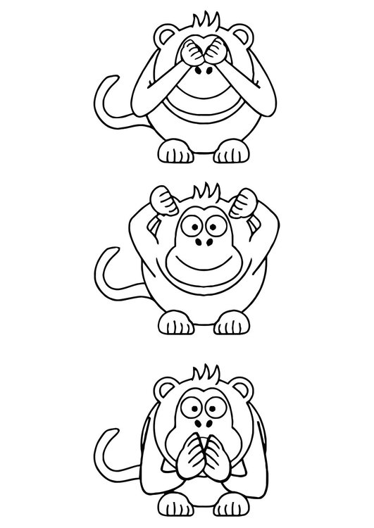 Coloring page hear no evil, see no evil, speak no evil