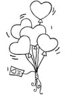 Coloring page heart balloon