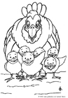 Coloring page hen with chickens