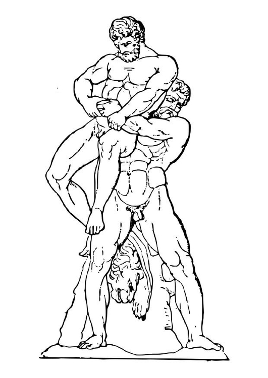Coloring page Heracles and Antaeos