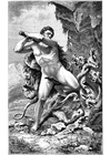 Coloring page Hercules and the snake