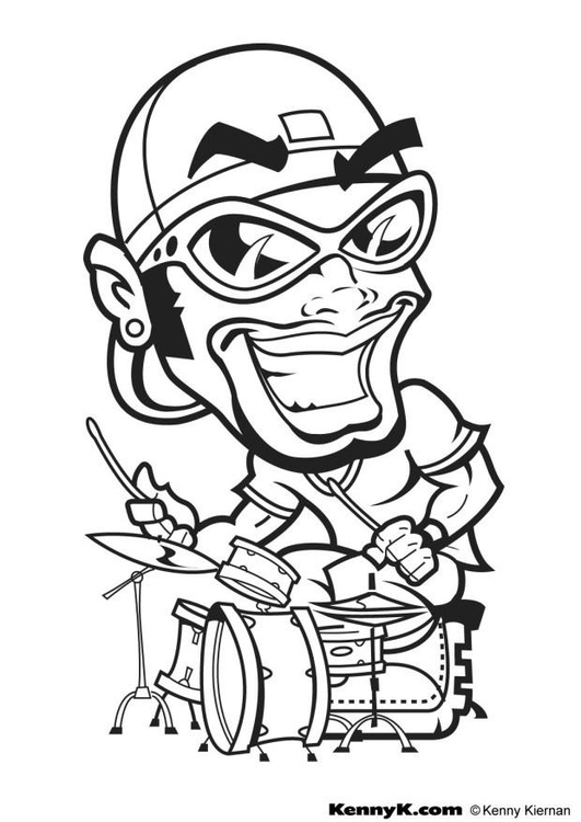 Coloring page hip hop drummer
