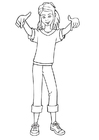 Coloring page hip hop girl