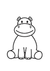 Coloring page Hippopoamus