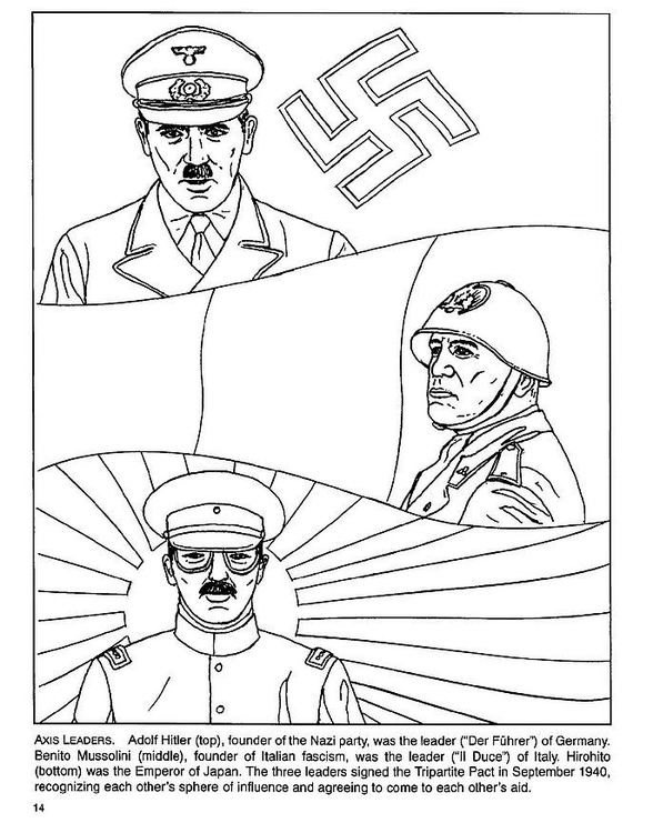 Coloring page Hitler, Mussolini, Hirohito