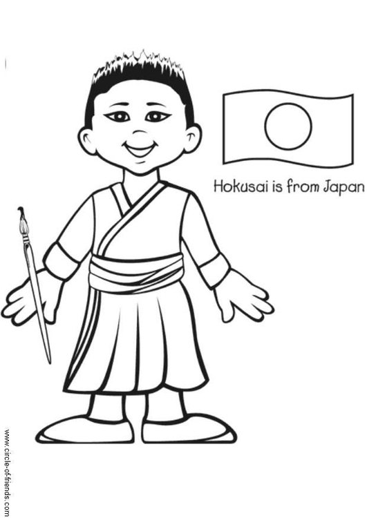 Coloring page Hokusai from Japan