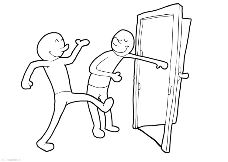Coloring page hold door open
