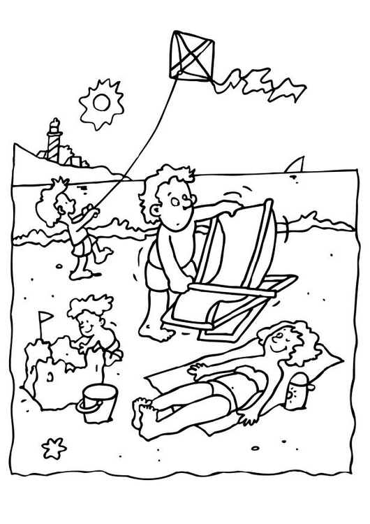 Coloring page holiday at the beach
