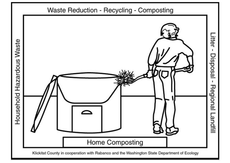 Coloring page home composting container