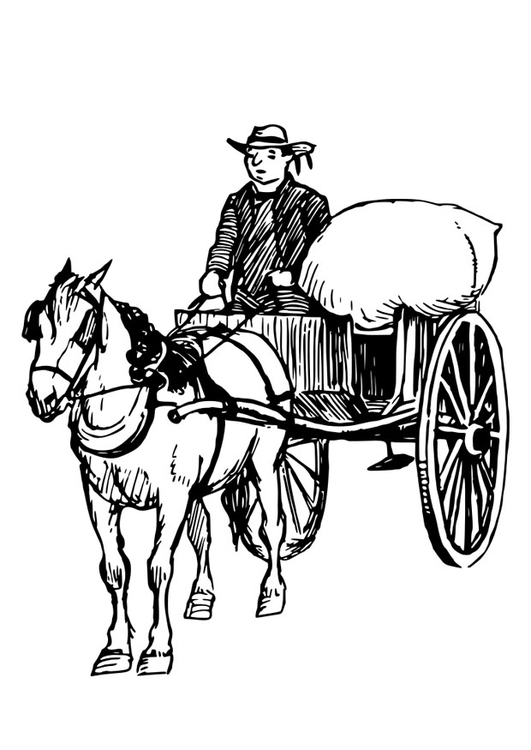 Coloring page horse and cart