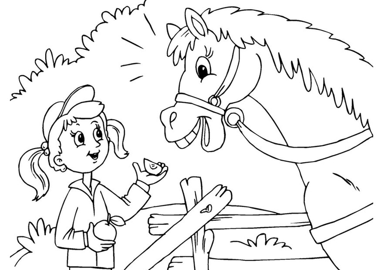 Coloring page horse and girl