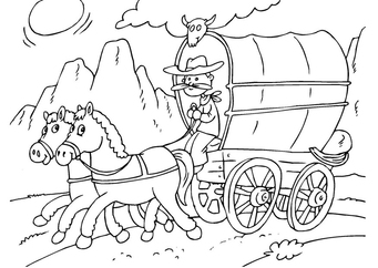 Coloring page horse and tilt cart