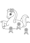 Coloring page horse in the meadow
