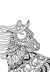 Coloring page horse in the wind
