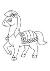 Coloring page horse on the go