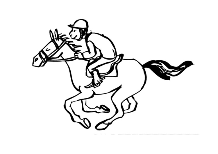 Coloring page horse racing