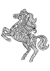 Coloring page horse rears