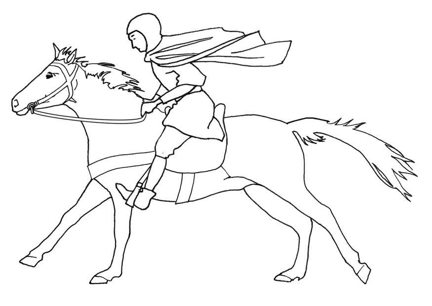 coloring page horse rider galloping  free printable