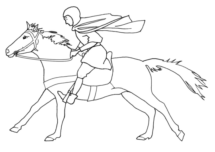 Coloring Page Horse Rider Galloping Free Printable Coloring Pages