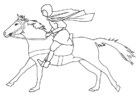 Coloring page horse rider galloping
