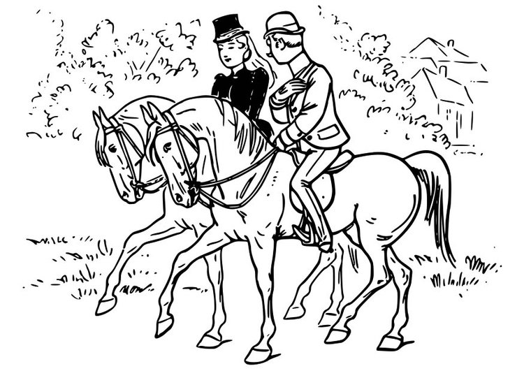 Coloring page Horse Riding