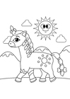 Coloring page horse with braids