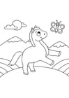 Coloring page horse with butterfly