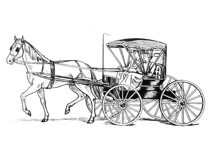 Coloring page horse with carriage - img 18982.