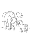 Coloring page horse with foal