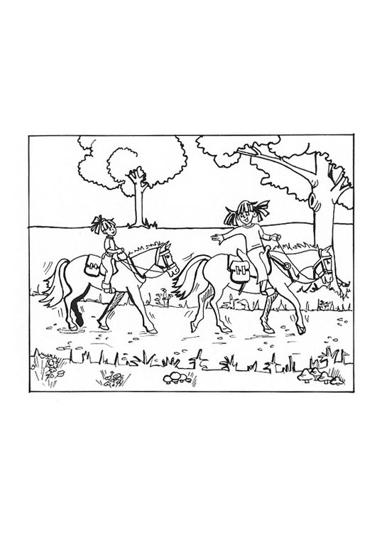 Coloring page horseback riding