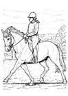 Coloring page horse-back riding