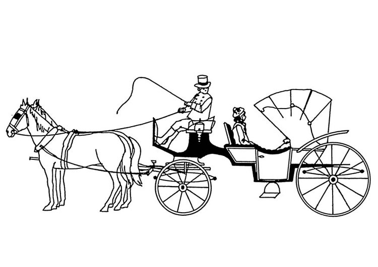Coloring page horses and carriage - img 18880.