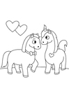 Coloring page horses in love