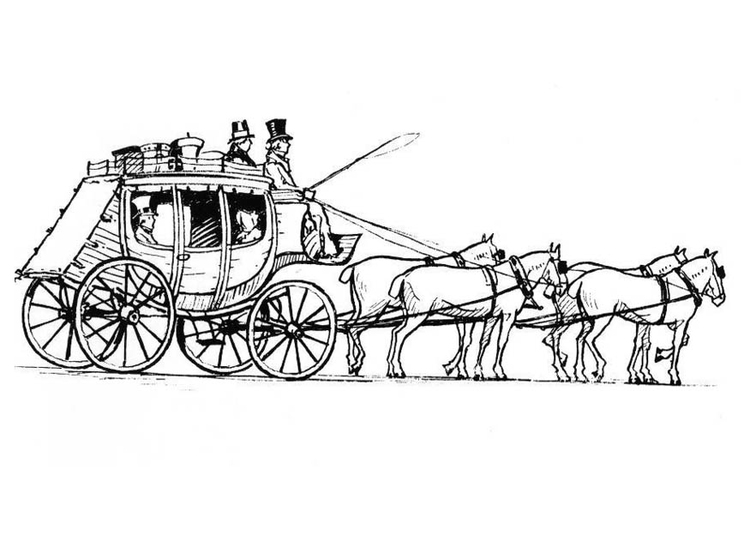Coloring page horses with carriage