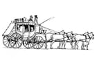 Coloring pages horses with carriage