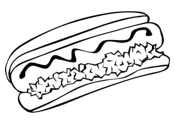 Coloring page hot dog