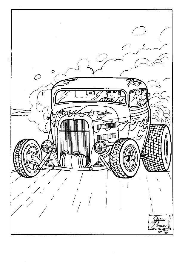 Coloring Page Hot Rod Img 7952