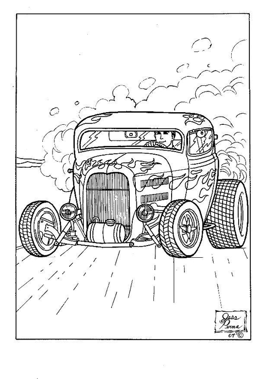 Coloring Page Hot Rod Img 7955