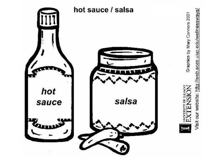 Coloring page hot sauces