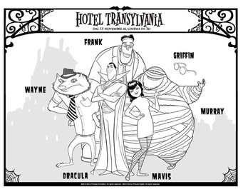Coloring page hotel Transilvania