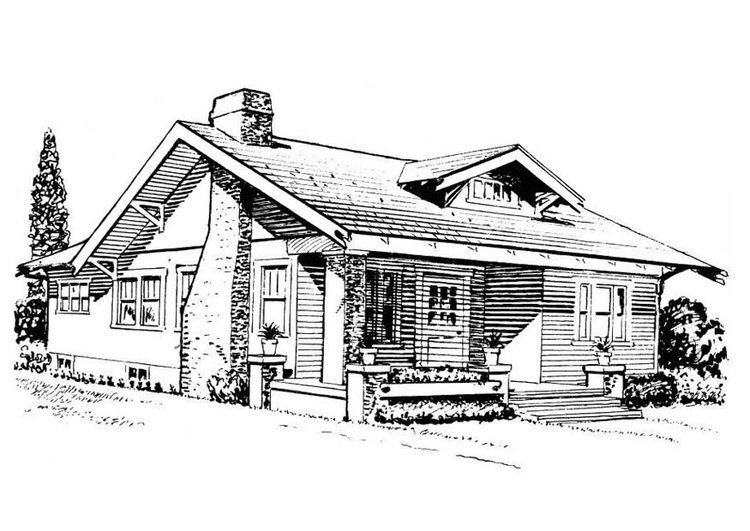 Coloring page house - bungalow