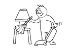 Coloring page house cleaning